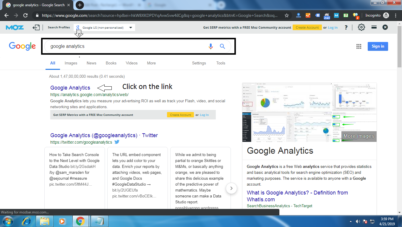 Search Google Analytics